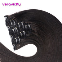 Light Yaki Human Hair Clip In Hair Extensions Full Head Clip Ins Brazilian Machine Made Remy Hair 14 22inch Natural Color