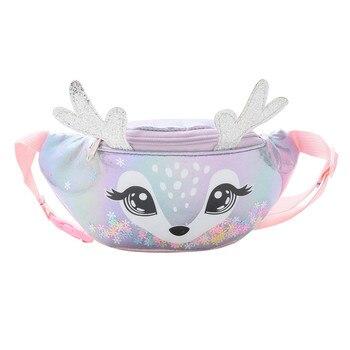 2020 Cute elk Female Waist Bag Kids Fanny Pack Cartoon Women Belt Bag Fashion Travel Phone Pouch Chest Bag Messenger Bags - Silver, United States