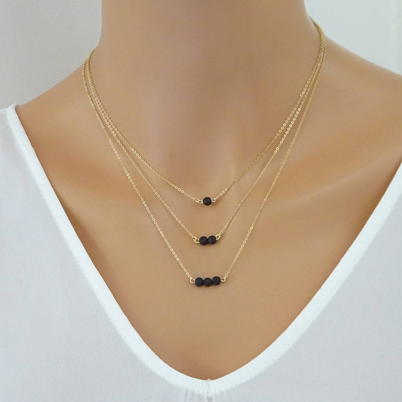 Women Necklaces Jewelry Long Necklace Chain Black Beads Tassel Lady Silver Color TRENDY Trendy Collares Collier
