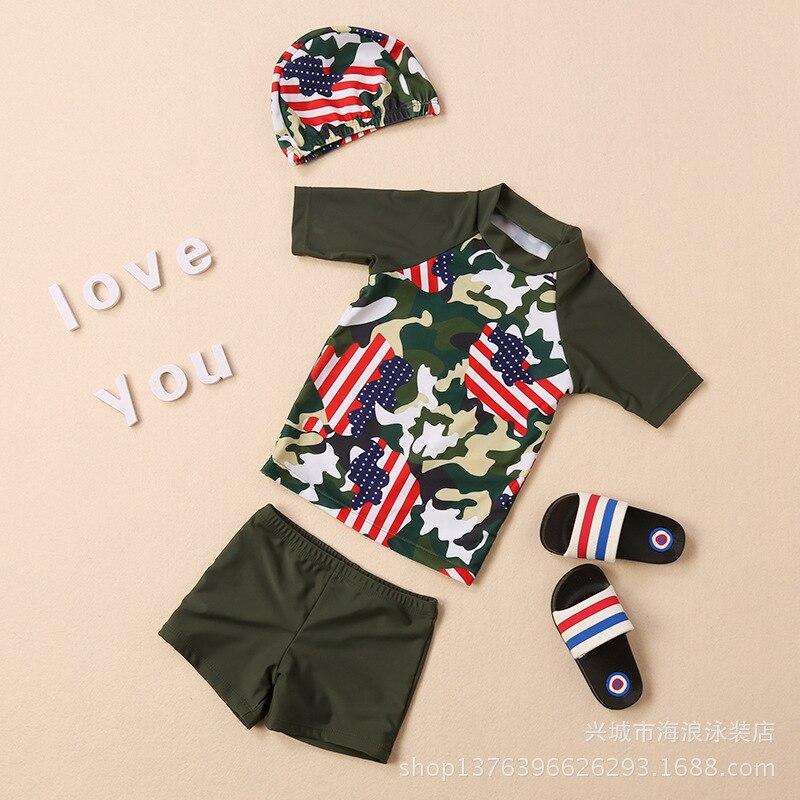 Children Sun-resistant Long Sleeve Split Type Boxers Swimsuit Girls Sun-resistant Clothing GIRL'S Large Children Swimming Suit