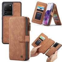 Funda de cuero genuino para teléfono móvil Samsung, carcasa de piel auténtica para Samsung S21 S20 Ultra S10 S9 S8 S7 Note 20 10 Plus 9 8, billetera para tarjeta para Galaxy A52 A72