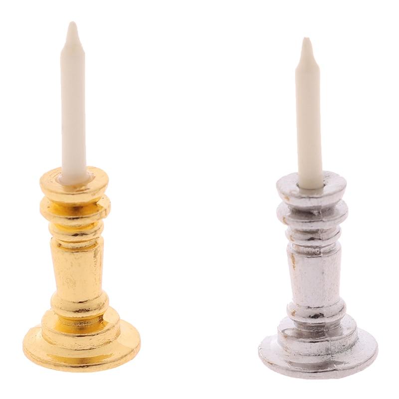 1pc Mini 1:12 Dollhouse Miniature Candle Vintage Golden Silver Metal Holder Stick Dollhouse Furniture Accessories 2CM