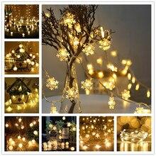 New Year Snowflakes String Light LED Christmas Decor for Home Hanging Garland Christmas Tree Decor Ornament Navidad Xmas Gift. L недорого