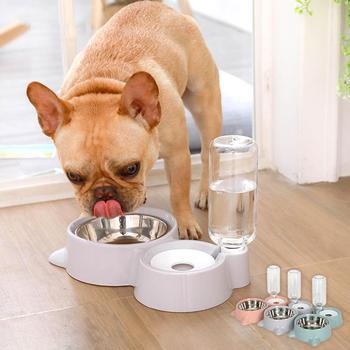 Pet Dog podwójne miski automatyczny podajnik żywności fontanna bez mokrych ust dla psów dozownik kotów tanie i dobre opinie CN (pochodzenie) Dla małego pieska Z tworzywa sztucznego