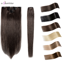 Human-Hair-Extensions Hairpiece Blonde 8-Clips Straight Natural Non-Remy S-Noilite 4pcs/Set