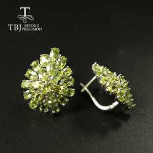 Image 2 - big size 10ct natural Peridot earring luxury party jewelry 925 sterling silver women jewelry for wife mom best gift from tbj