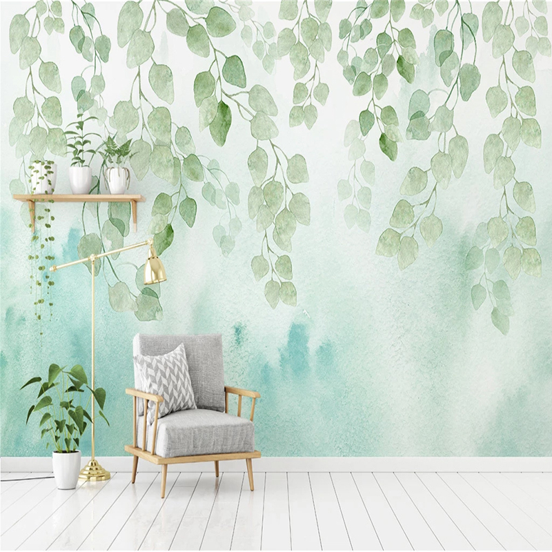 Modern Green Watercolor Leaf Mural Wallpaper 3D Nordic Style Living Room TV Bedroom Background Wall Decor Papel De Parede Sala