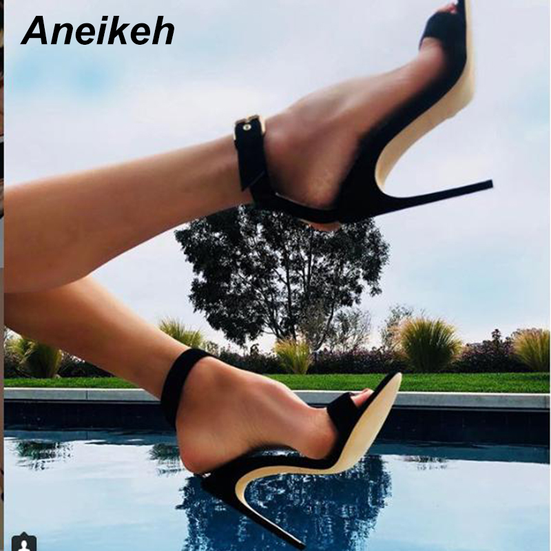 Aneikeh 2020 Women Sandals Stiletto High Heel Shoes Narrow Band Strap Ankle OL Sexy Pumps Party Dress Dropshipping Shoes Size 42