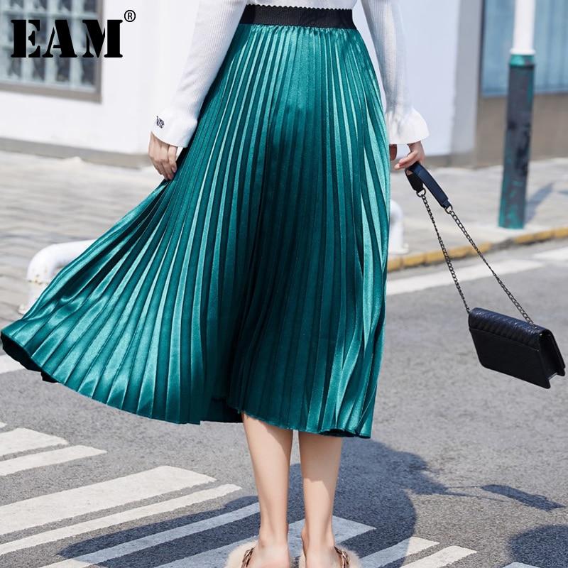 [EAM] High Elastic Waist Brief Multicolor Pleated Elegant Long Half-body Skirt Women Fashion Tide New Spring Autumn 2021 1X123
