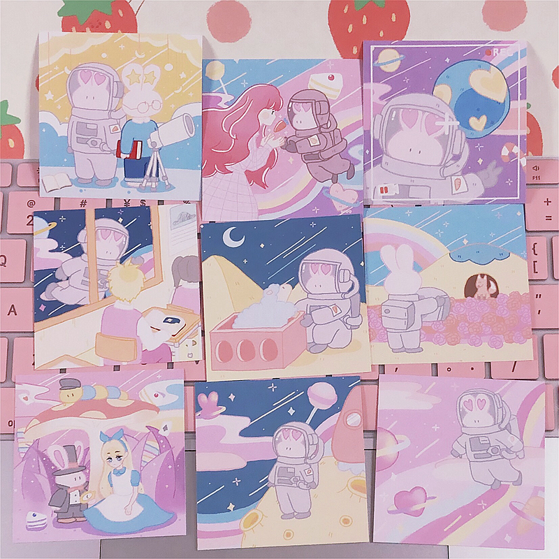 9Pcs/set 6*6cm Korean Cartoon Lovely Astronaut Rabbit INS Album HD Photo Card Self Adhesive Stickers Photocard