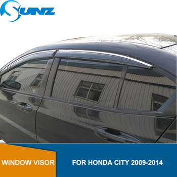 Side Window Deflectors For Honda City 2009  2010 2011 2012 2013 2014  Winodow Visor Vent Shades Sun Rain Deflector Guard SUNZ window visor vent shades sun rain guard for toyota prado fj120 2003 2009