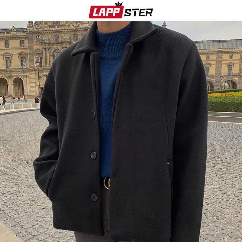 LAPPSTER erkekler kore katı kısa kış ceket 2019 yün ceket erkek japon Streetwear Harajuku palto Harajuku sonbahar rüzgarlık
