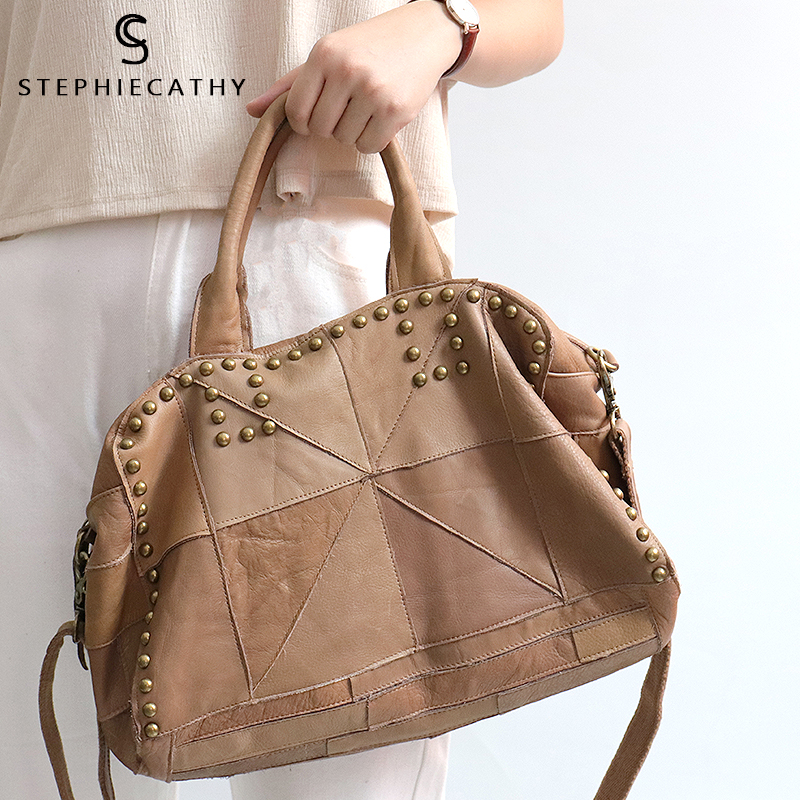 SC Small Vintage Genuine Leather Rivet Totes Handbags for Women Shoulder Bags Retro Cow Leather Ladies