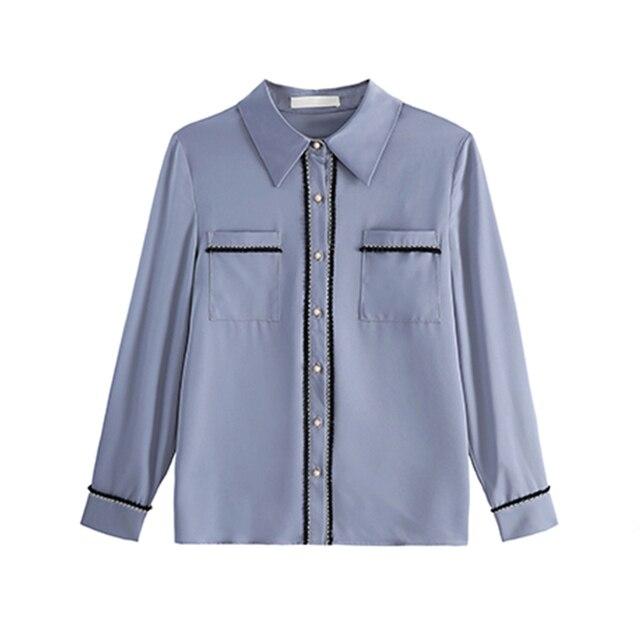 Korean Women Shirts Woman Shirt and Blouse Office Lady Beading Blouses Shirts Women Long Sleeve Satin Shirt Tops Plus Size XXL 6