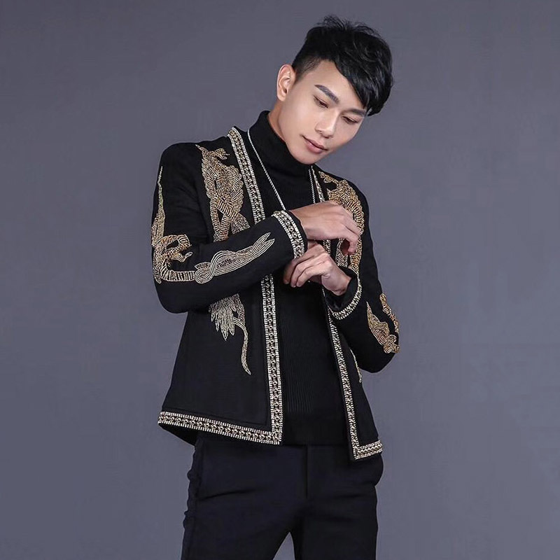 Luxury Court Style Wedding Suit Coat Men Handmade Beading Collar Embroidered Slim Blazer Male Streetwear Hip Hop Outerwear S-XL