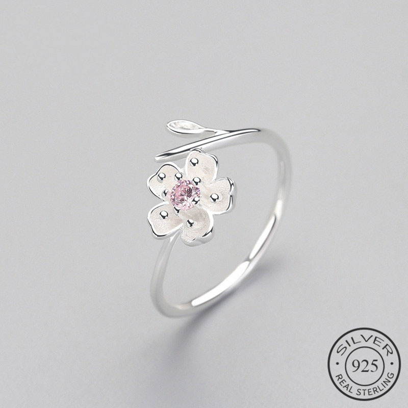Real 925 Sterling Silver Zircon Enamel Plum Flower Adjustable Ring Elegant Fine Jewelry For Women Romantic Party Bijoux