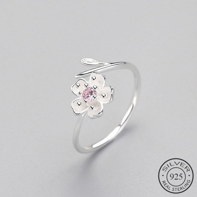 Real 925 Sterling Silver Zircon Enamel Plum Flower Adjustable Ring Elegant Fine Jewelry For Women Romantic Party Bijoux