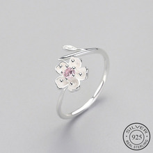 Adjustable Ring Zircon Flower Fine-Jewelry Romantic 925-Sterling-Silver Plum Elegant