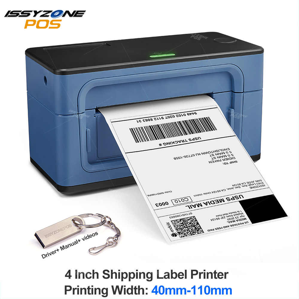 IssyzonePOS Nhãn Mã Vạch 4 Inch 4 × 6 Nhãn USB Máy In Nhiệt 40-110Mm Giấy In Vận Chuyển thể Hiện Lable Máy In
