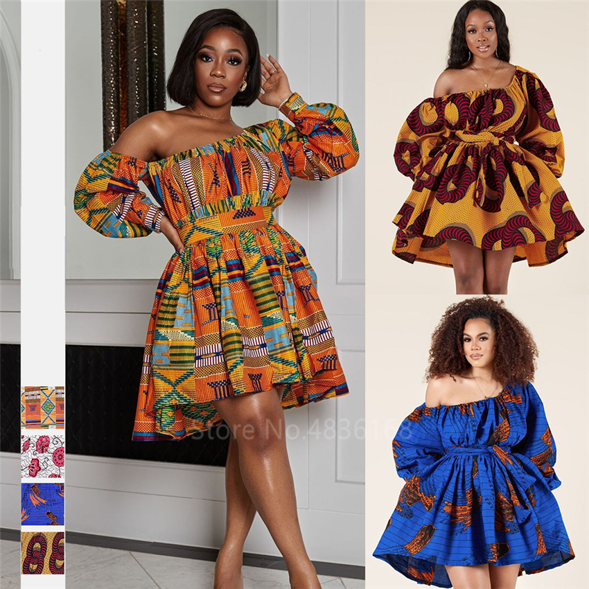 African Dresses For Women Full Sleeve Summer Tilting Shoulder Two Wear Dress Dashiki Print African Rich Bazin Top Maxi Clothes