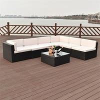 7 stücke Terrasse Rattan Wicker Möbel Set Chaise Lounge Liebe Sitz Stahl Rohr Bau Wasserdicht Strand Stühle auf