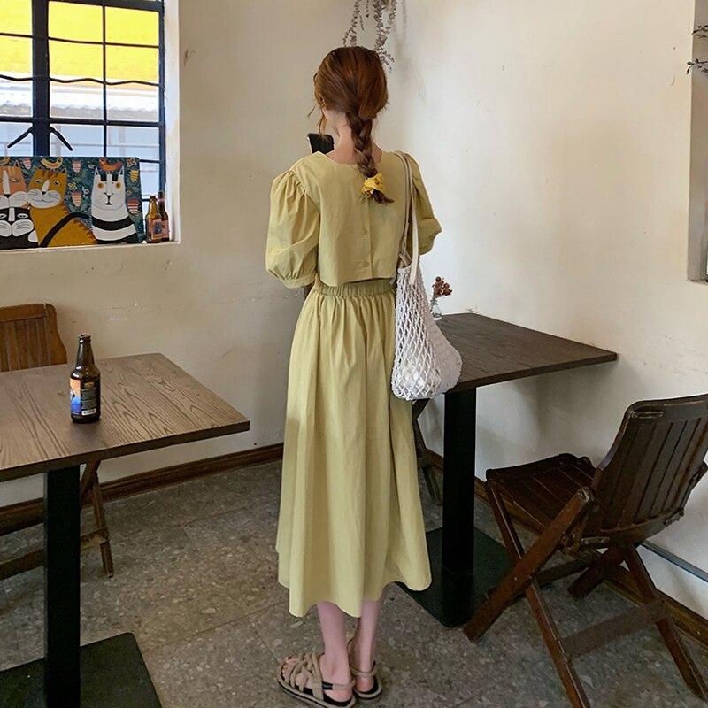 Французский Стиль платье с рукавами-фонариками и женская летняя обувь 2021 новый дизайн чувство наряд до талии пояс для похудения, Элегантное...