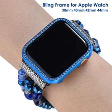 40mm 44mm Blue Case for Apple Watch SE Case Series 6 Protector Metal Bumper Protective Cover 38mm 42mm Women Bling Frame Luxury