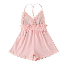 Jumpsuit Flower-Shorts Girls Summer Strap Fashion Solid V-Neck Playsuits-Size Backless