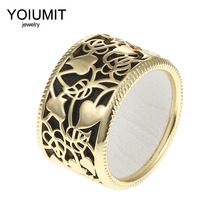 Cremo New Fashion Gold Color Heart Shaped Hollow Ring Elegant Bijoux Femme Finger Rings Reversible Leather Bagues pour femme
