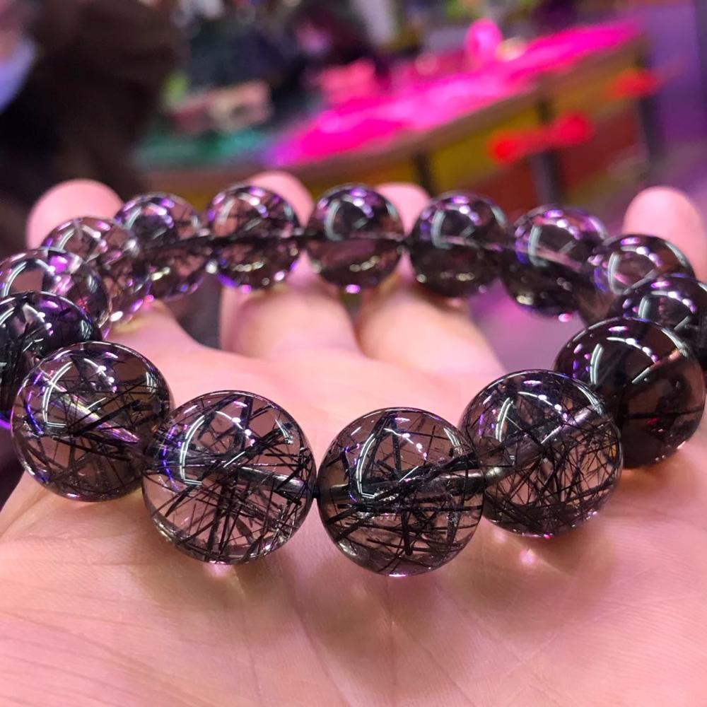 15mm Genuine Brazil Natural Black Rutilated Quartz Crystal Clear Big Round Bead Woman Men Bracelets AAAAABracelets & Bangles   -