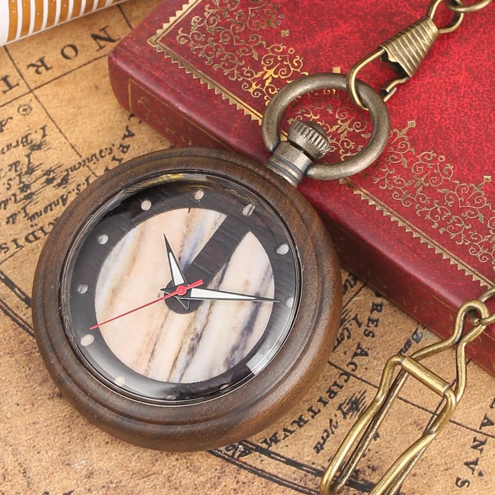 Luxury Wooden Watch Quartz Timepiece Hanging Pocket Watch Rough Chain Antique Necklace Pendant Clock Gifts For Men Women 2019
