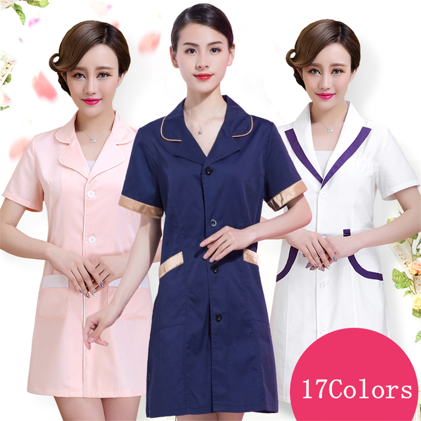 Fashion Woman Short Sleeve Nurse Services Uniform Beauty Salon Pharmacy Medical Scrub Lab Coat Summer Hospital Doctor Gown