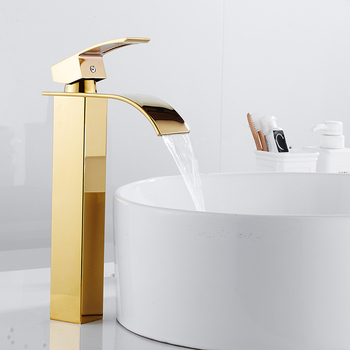 Gold Brass Basin Faucets Square Bathroom Sink Faucet Single Handle Deck Mounted Faucet Hot And Cold Mixer Water Tap waterfall basin faucet for bathroom torneira oil rubber brushed deck mounted sink mixer tap single handle faucets