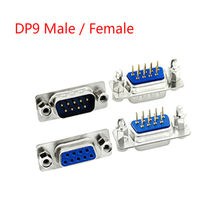10Pcs Masculino/Azul Feminino Em Linha Reta Pin DB9 D-sub PCB Mount RS232 Porta Serial Conector do Soquete Com parafuso Nozes