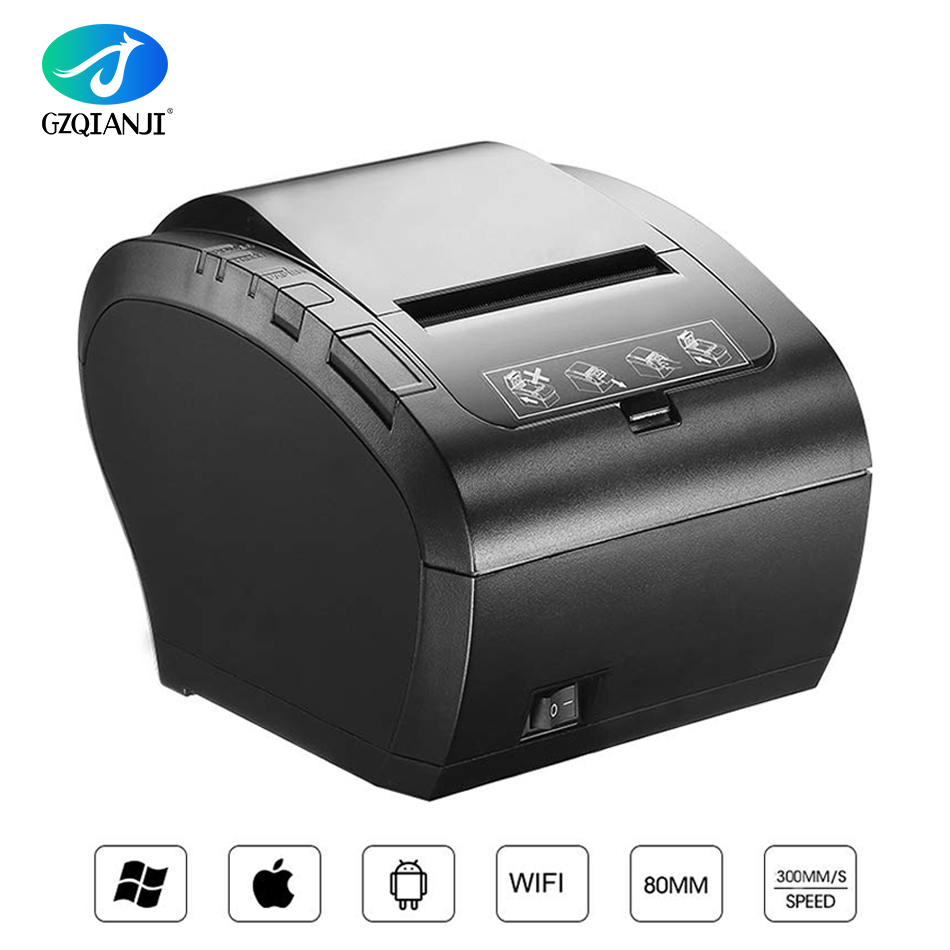 GZ8002 80mm Thermal Receipt Printer Automatic cutter Restaurant Kitchen POS Printer USB+Serial+Ethernet Wifi Bluetooth printer-in Printers from Computer & Office