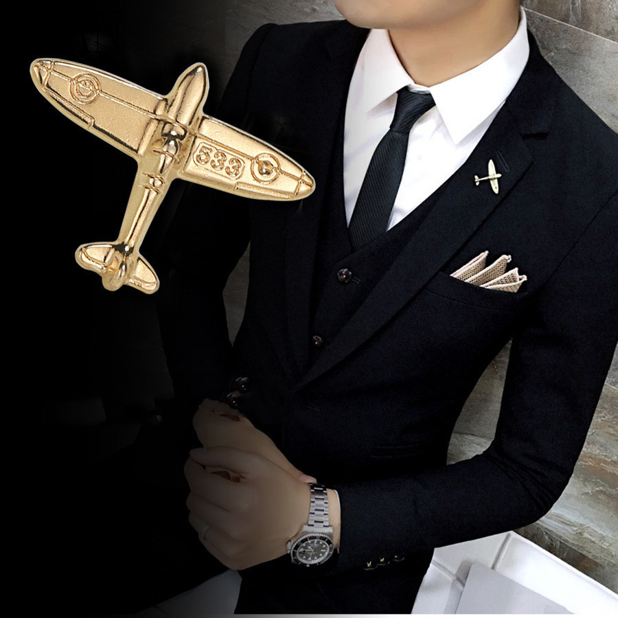 Korean High-grade Crystal Airplane Brooch Pin Rhinestone Aircraft Lapel Pins And Brooches Men;s Suit Collar Needle Accessories image