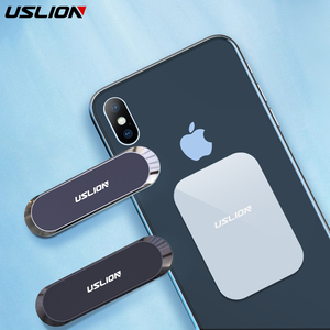 USLION mini Strip Magnetic Car Phone Paste Holder Stand For iPhone Samsung Xiaomi Wall Zinc Alloy Magnet GPS Car Mount Dashboard