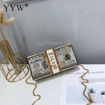 цена Stack Of Cash Crystals Bag Women Money Evening Clutch Bags Diamond Wedding Dinner Purses And Handbags Luxury Women Designer Bags онлайн в 2017 году