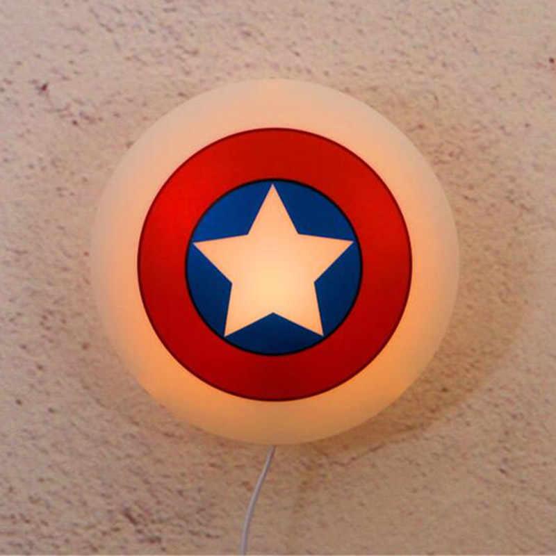 Disney kaptan amerika kalkan duvar lambası çocuk yatak odası karikatür tarzı 3D güç tasarrufu LED gece lambası X4921