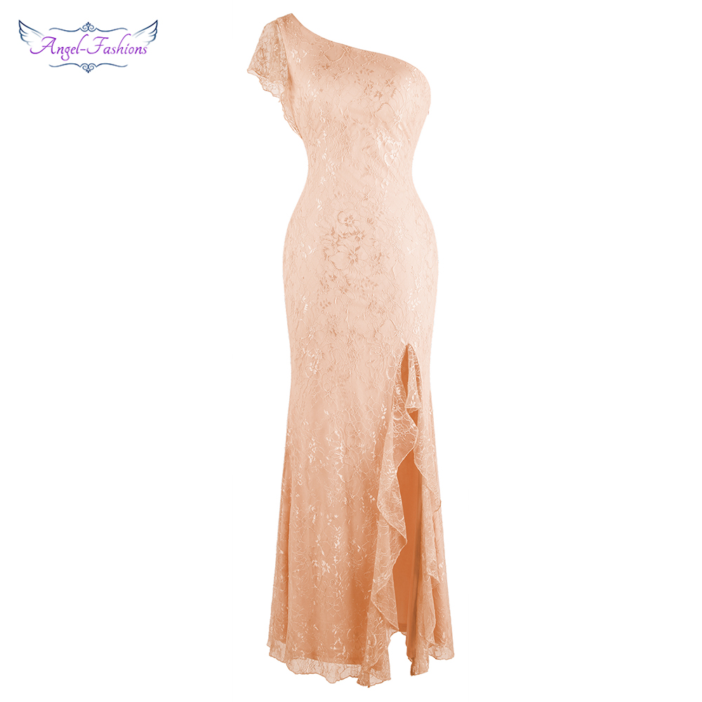 Angel-fashions One Shoulder Lace Evening Dresses Long Slit Ruffle Wedding Party Dress  Light Coral 464