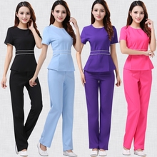 Women's Fashion Uniforms SPA Beautician Nurse Workwear Chiffon Spa Tunic Set High-quality Round Collar Top + Pants