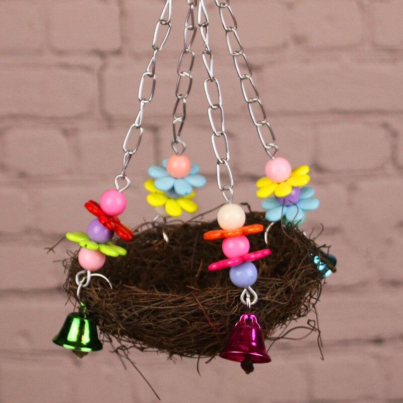 Natural Wooden Parrots Swing Toy Birds Bird Nest Vintage Bird Cage Squirrel Funny Chain Swing Toy Pet Bird Supplies