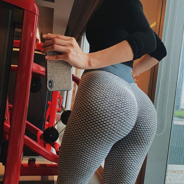 Tuofan Gym Knitting Leggings For Fitness High Elasticity Breathable Women 3D Mesh Yoga Pant  Quick Drying High Waist Leggings