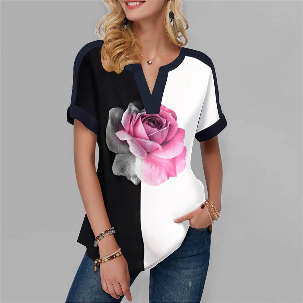 New Summer Tshirt Sexy Flowers Print Short Sleeve Tops & Tees Fashion Casual T Shirt