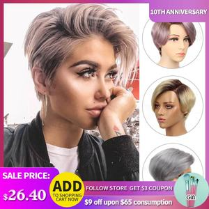 Rebecca Short Straight Hair Lace part wig Lace front Human Hair Wigs For Women Peruvian Remy hair Ombre Pink Blond Fashion wigs