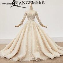 HTL1365 v צוואר שמלות כלה ארוך שרוול פשוט חתונה שמלת נצנצים applique פשוט כדור שמלת vestido novia encaje