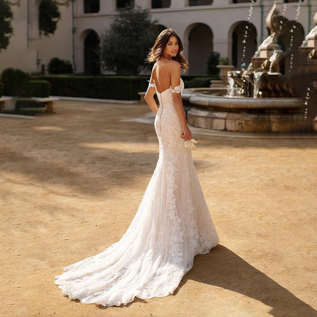 Mermaid Wedding Dress Boho 2021 Sexy Off The Shoulder Lace appliques Backless Bridal Dress Plus Size vestido de noiva 2