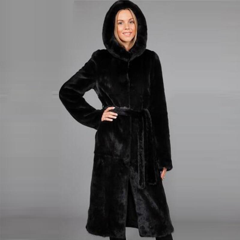 Winter dicken warmen Pelzmantel mit Kapuze X-lange schwarze - Damenbekleidung - Foto 2