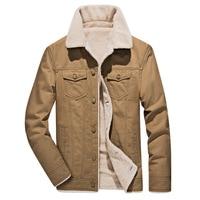 men's winter lamb cashmere male solid cotton bomber tactical jacket parka anorak coats cargo outwear slim thick warm jacket coat
