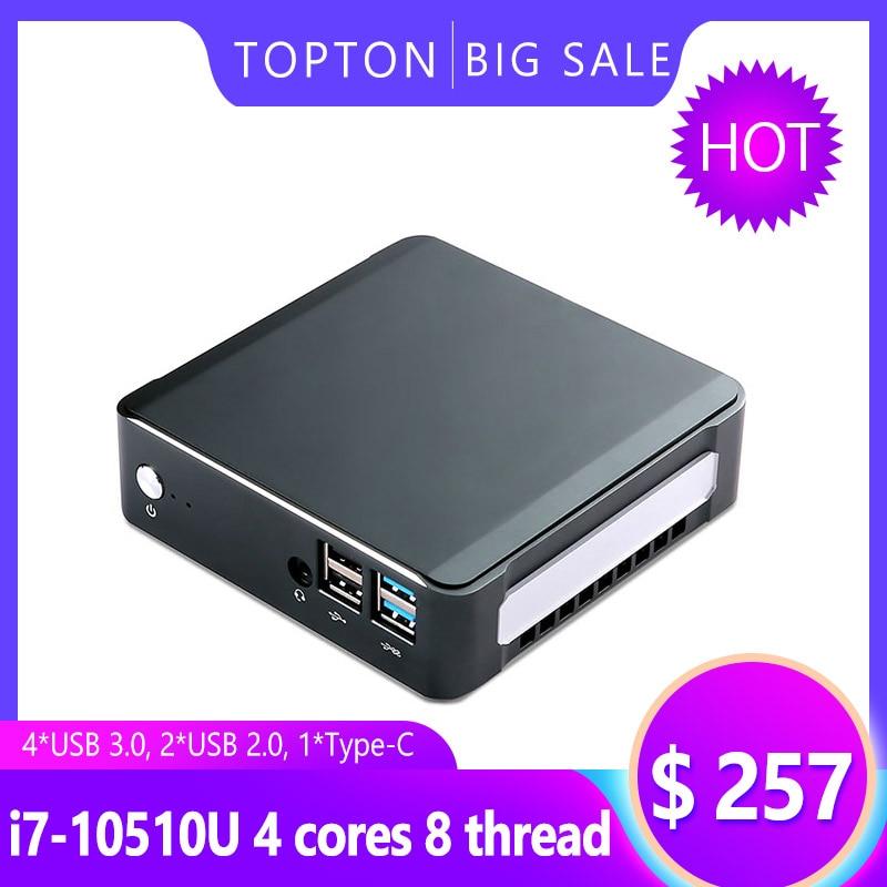Powerful Game Mini PC Windows 10 Pro Intel I7-10510U I5-10210U 2*DDR4 M.2 Nuc Ultra Compact PC Type-C 4K 60Hz HDMI2.0 DP VESA